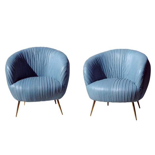 Modern Rouched Leather Lounge Chairs - a Pair For Sale
