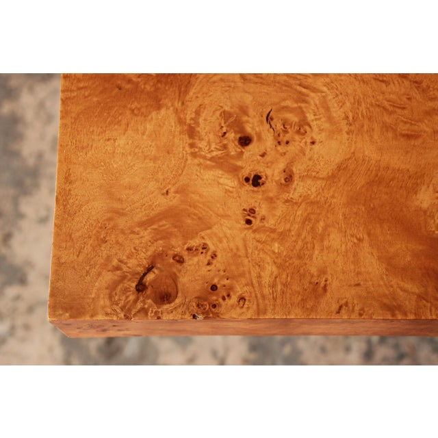 Milo Baughman Burled Olive Wood Pedestal Dining Table - Image 10 of 11