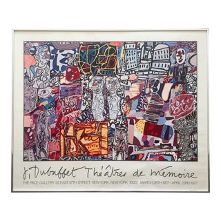 "Jean Dubuffet Vintage 1977 Lithograph Print Framed Exhibition Poster ""Theatres De Memoire"" For Sale"