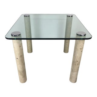 Pace Collection Mid-Century Modern Glass and Marble Card Table
