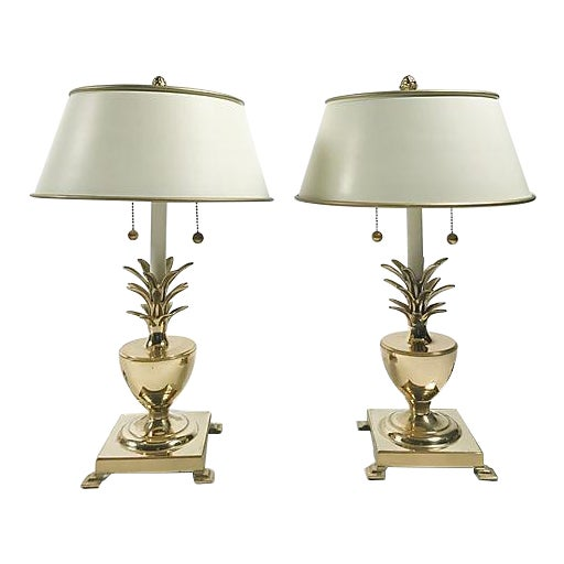 Hollywood Regency Pineapple Lamps - A Pair For Sale