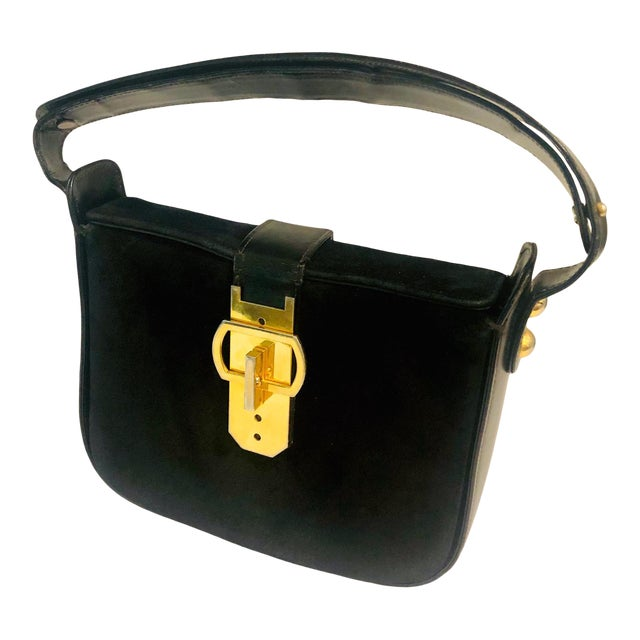 1980s Saks Fifth Avenue Suede and Leather Shoulder Bag For Sale