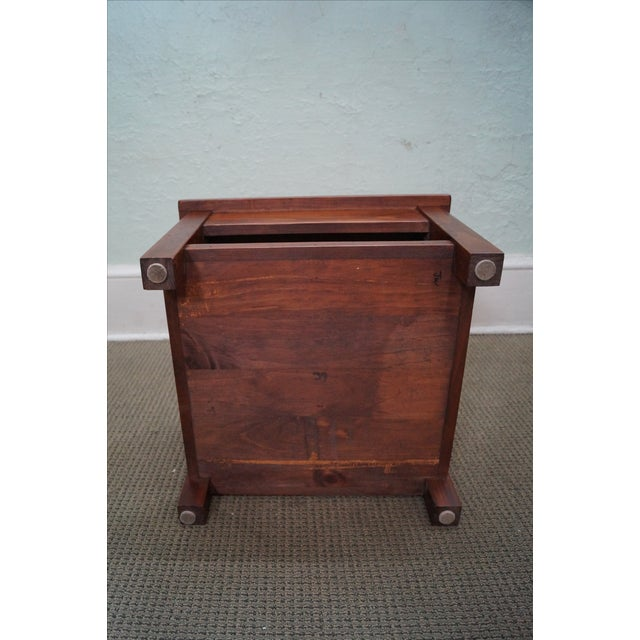 Solid Pine Primitive Checkerboard Top Side Table - Image 4 of 10