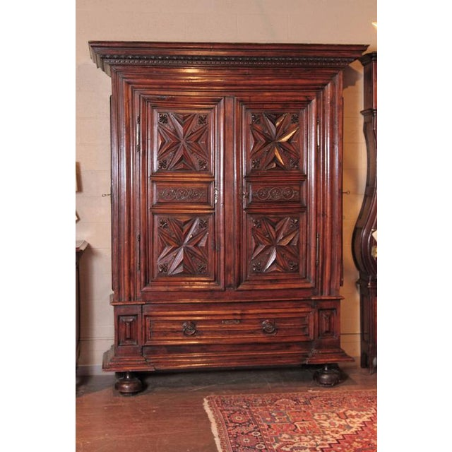 late 17th century french louis xiii carved walnut armoire chairish. Black Bedroom Furniture Sets. Home Design Ideas