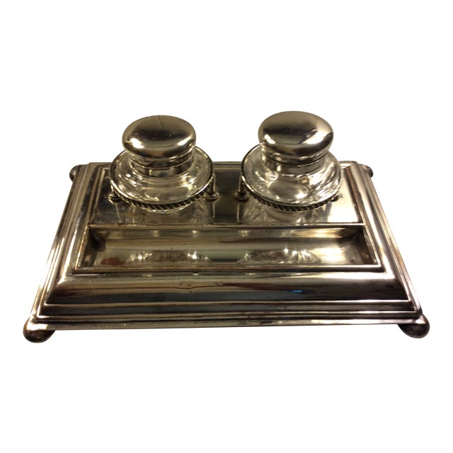 Early 20th Century Sheffield Silver Plate and Crystal Inkwell For Sale