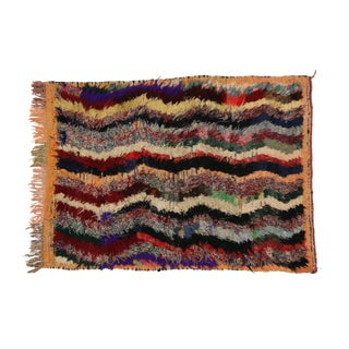 1980s Vintage Berber Tribes of Morocco Boucherouite Shag Accent Rug - 4′ × 5′2″ For Sale