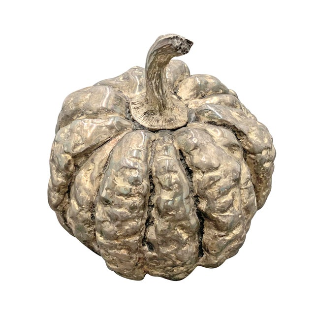Folk Art Late 20th Century Silver-Plated Cast Pumpkin Table Ornament For Sale - Image 3 of 9