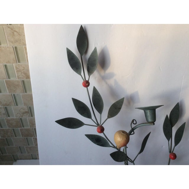 Painted Tole Candle Wall Sconce With Fruits - Image 5 of 11
