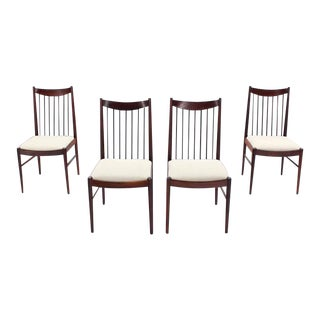 Danish Mid Century Danish Modern Rosewood Spindle Back Dining Chairs - Set of 4 For Sale