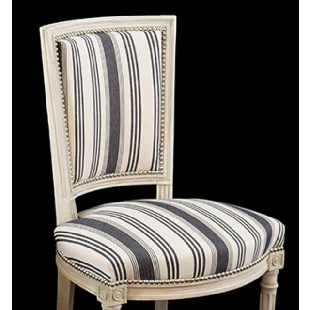 Louis XVI Handsome Set of Six Louis XVI Style Side Chairs Covered in Blue and White Stripe For Sale - Image 3 of 5