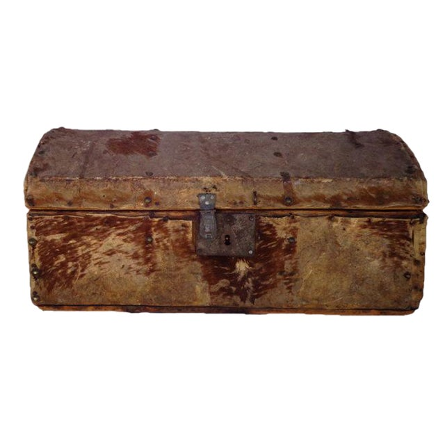 Early 1800's Hide Covered Trunk - Image 1 of 5