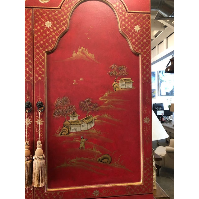 Red Asian Style Hand Painted Secretary W/ Hutch For Sale - Image 8 of 13