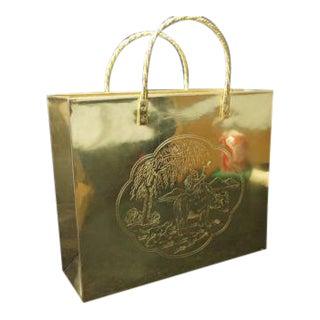 Vintage Brass Shopping Bag Magazine Holder/ Bag Vase For Sale