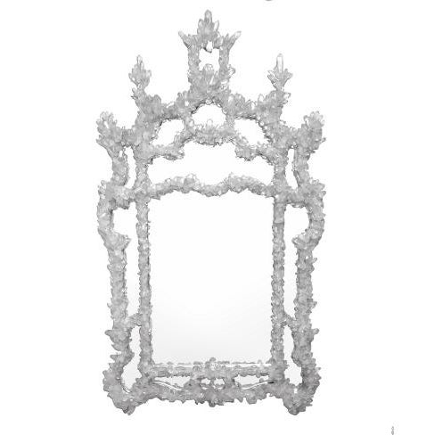 Chinese Chippendale style hand-craved wood frame with a painted silver finish, dressed with rough-cut quartz crystal pieces