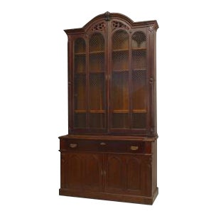 American Victorian plum-pudding mahogany secretaire-bookcase with arched pediment above grilled doors & a maple veneered...