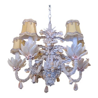 Small Five-Light Shell Adorned Chandelier For Sale