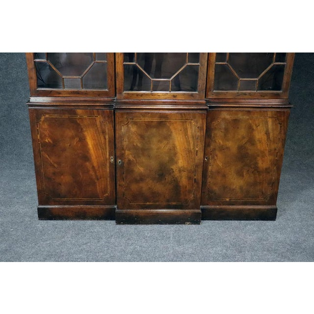 Georgian Baker Georgian Style Flame Mahogany Breakfront For Sale - Image 3 of 10