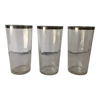 "Midcentury Clear & Silver Rim Set of 3 Glasses 5""h For Sale"