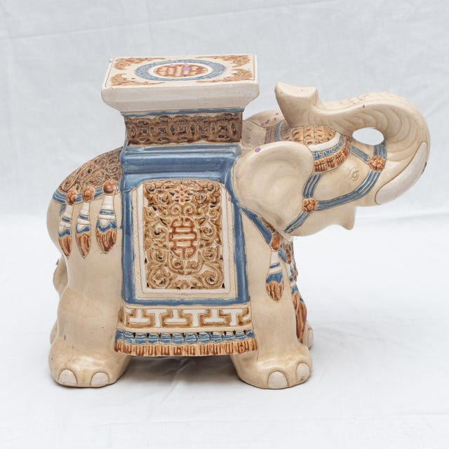 1970s Elephant Ceramic Garden Stool/Side Table/Patio Garden Stool For Sale - Image 5 of 13