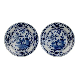 Matched Antique Dutch Delft Pottery Chinoiserie Chargers or Wall Plates - A Pair For Sale