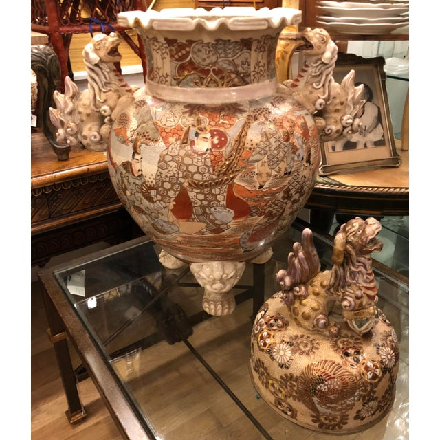 Late 19th Century Superb Antique Satsuma Pottery Covered Urn For Sale - Image 5 of 7