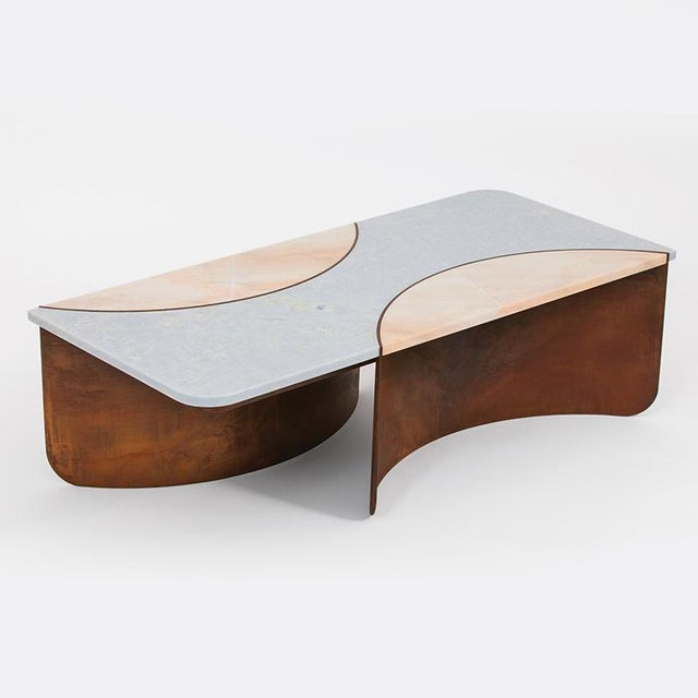 Not Yet Made - Made To Order Contemporary Oxidized Steel Crescent Table With Blue and Pink Marble Insets For Sale - Image 5 of 5