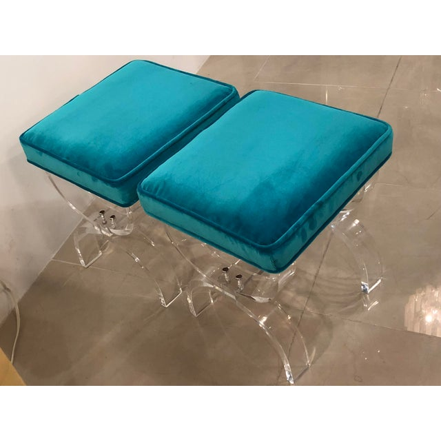 Hollywood Regency Vintage Hollywood Regency Blue Velvet Lucite X Benches Stools -A Pair For Sale - Image 3 of 13