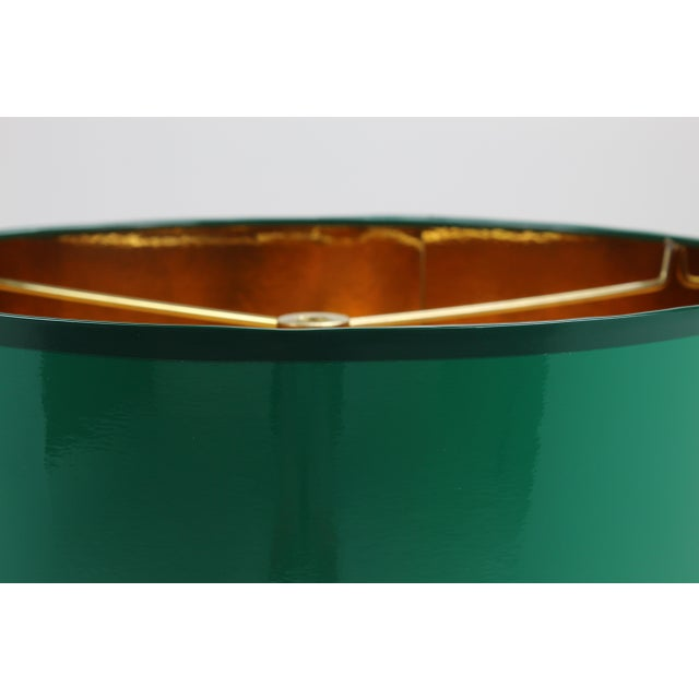 Small High Gloss Emerald Green Drum Lampshade For Sale - Image 6 of 7