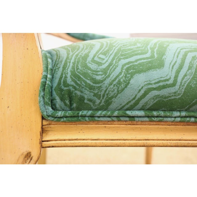 Green Malachite Velvet Century Brand Caned French Chairs - a Pair For Sale - Image 8 of 11