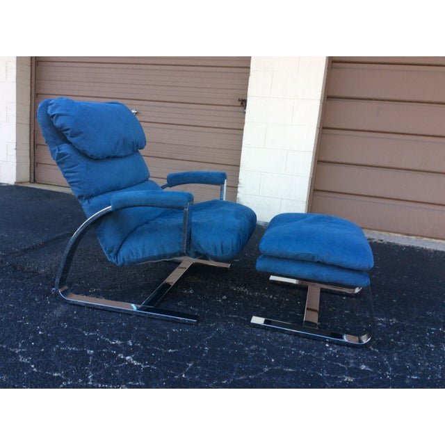 Milo Baughman Chrome Lounge Chair & Ottoman - Image 3 of 7