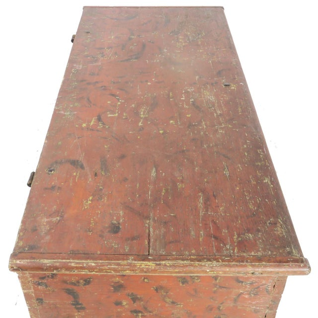 Early 19th Century Antique Primitive Red Paint Trunk For Sale - Image 11 of 13