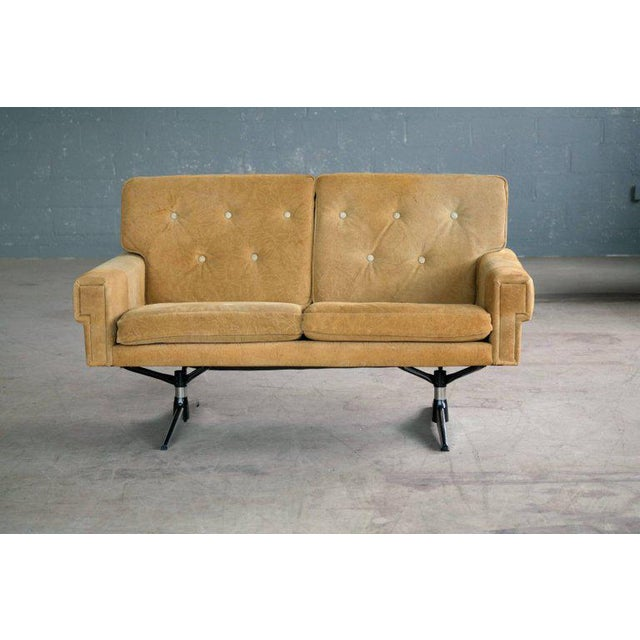 Svend Skipper Attributed Airport-Style Suede Two-Seat Sofa or Settee - Image 4 of 7