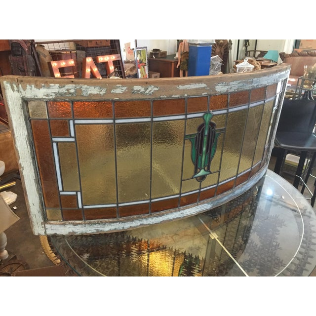 Arts & Crafts Antique Mission Design Curved Stained Glass Window For Sale - Image 3 of 11