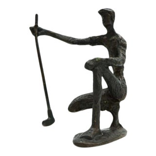 Vintage Bronze Golfer on the Green Sculpture For Sale