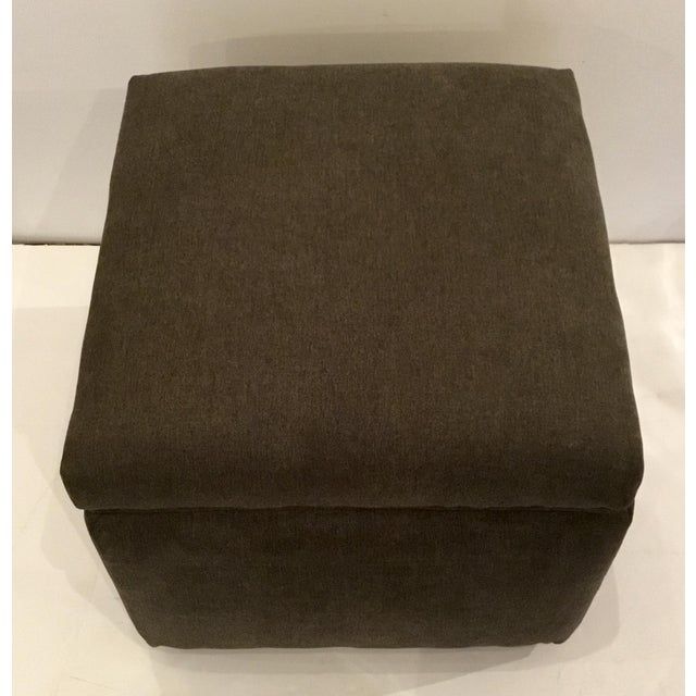 Stylish Transitional Dark Gray Storage Ottoman, designer upholstry weight fabric, showroom floor sample