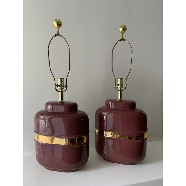 1980's Modern Abstract Form Mauve and Gold Lamps - a Pair For Sale - Image 4 of 12