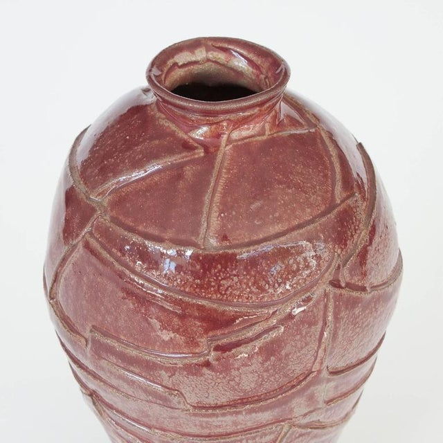 Layered Geometric Studio Pottery Vase For Sale In Chicago - Image 6 of 10
