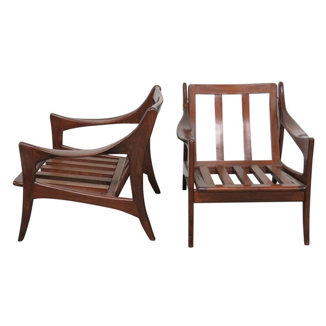 Modern Design Slatted Lounge Chairs - Pair - Image 1 of 6