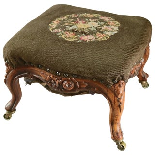 19th Century Antique French Louis XV Carved Fruitwood and Floral Needlepoint Footstool For Sale