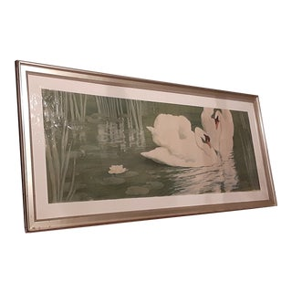 """Original Period Italian-French Artist Alfred Muller 1869-1939 """"Les Cygnes"""" For Sale"""