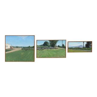 """Hanley Farm Trio"" Contemporary Landscape Oil Paintings, Framed - Set of 3 For Sale"