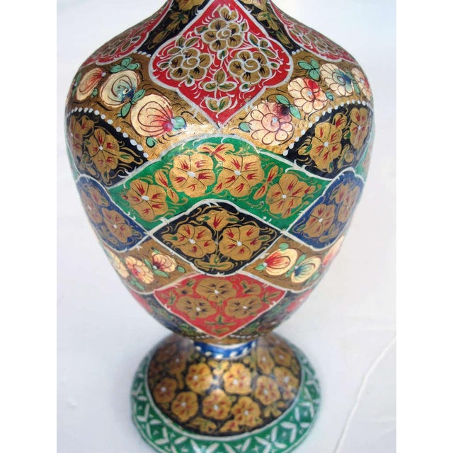 A Vibrant and Unusual Pair of Kashmiri Papier Mache Polychromed Urns For Sale - Image 4 of 6