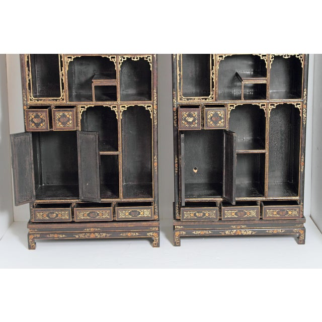 Pair of Black Lacquer Chinese Display Cabinets For Sale - Image 11 of 13