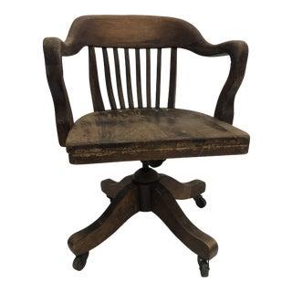 Vintage Industrial Wood Barrel Back Banker Swivel Chair For Sale