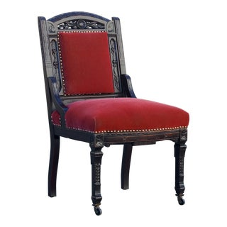 Victorian Rectory Chair of Carved Mahogany For Sale