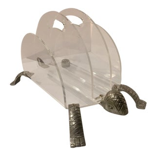 Arthur Court Grainware Lucite & Aluminum Turtle Magazine Rack
