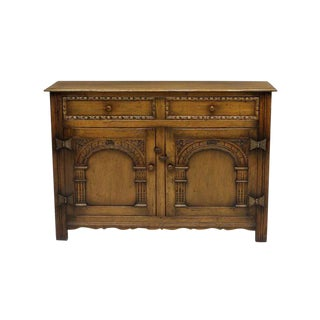 Arts and Craft Style Carved Oak Two-Door Cabinet For Sale