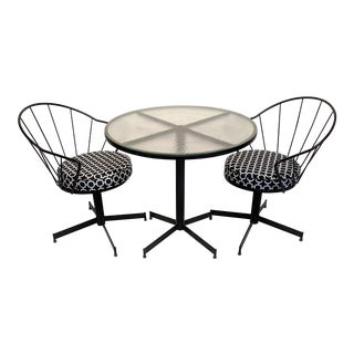 1960s Vintage Brown Jordan Style Mid-Century Modern Bistro Set - 3 Pieces For Sale