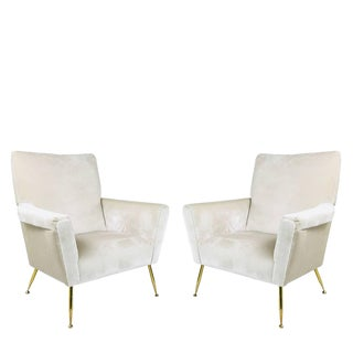 Pair of Vintage Italian Lounge Chairs With Brass Legs For Sale