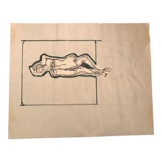 1970s Vintage Hilliard Dean Drawing For Sale